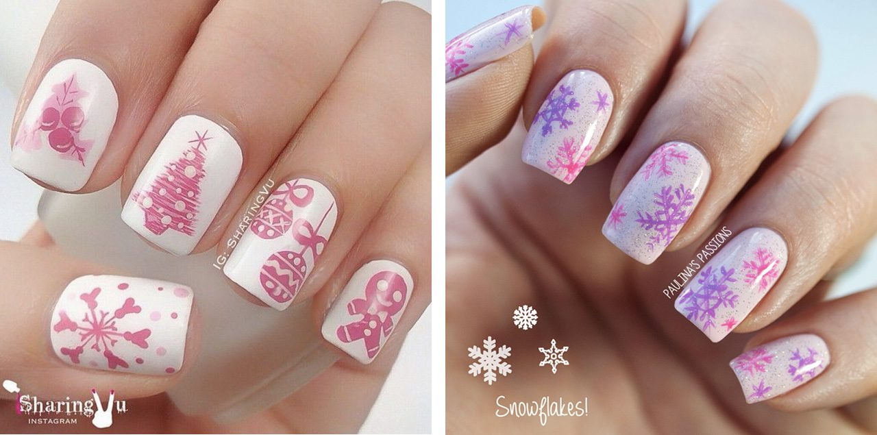 Бело-розовый маникюр новогодний