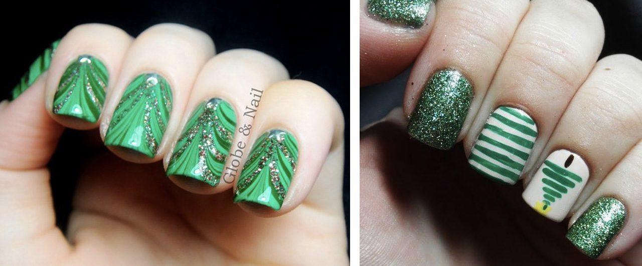 Зеленый новогодний маникюр