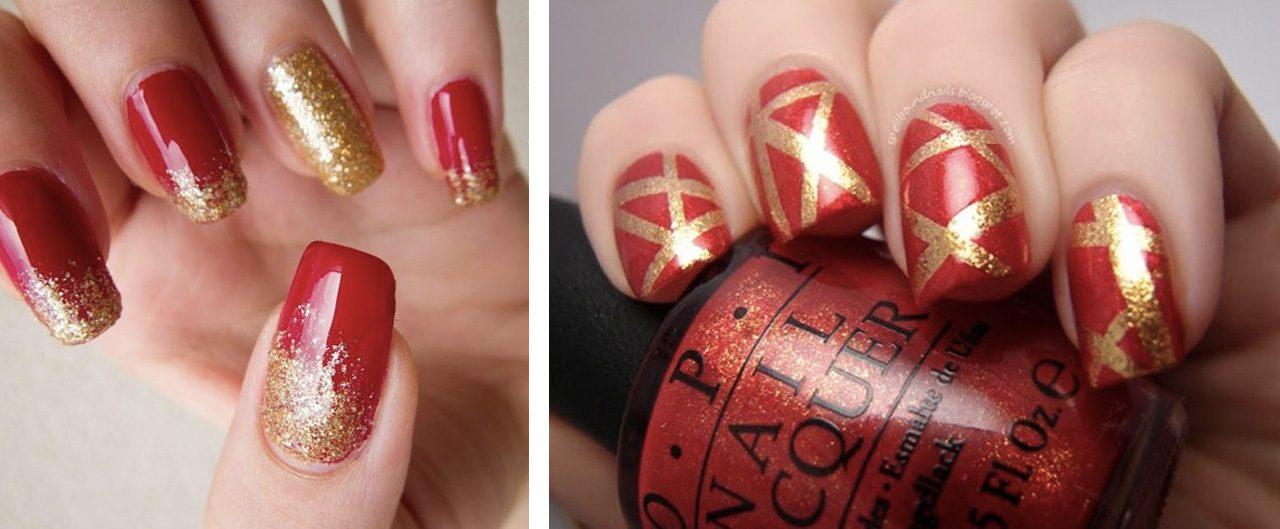 Красно-золотой маникюр +на новый год