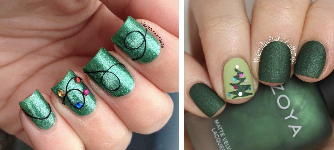 Зеленый со стразами новогодний маникюр