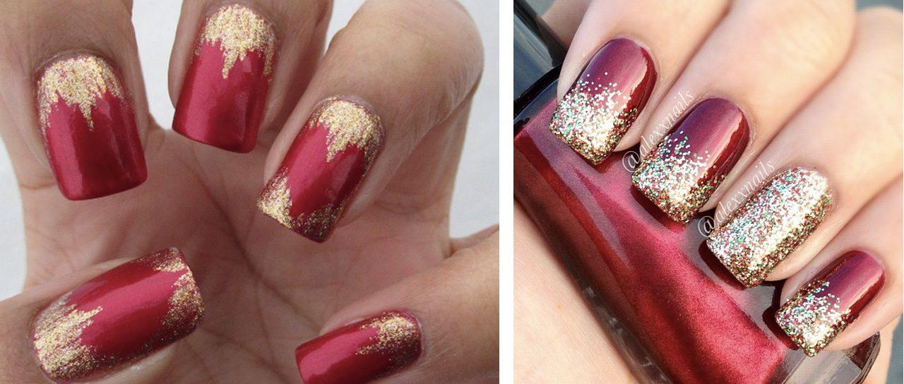 Новогодний маникюр красный с золотом