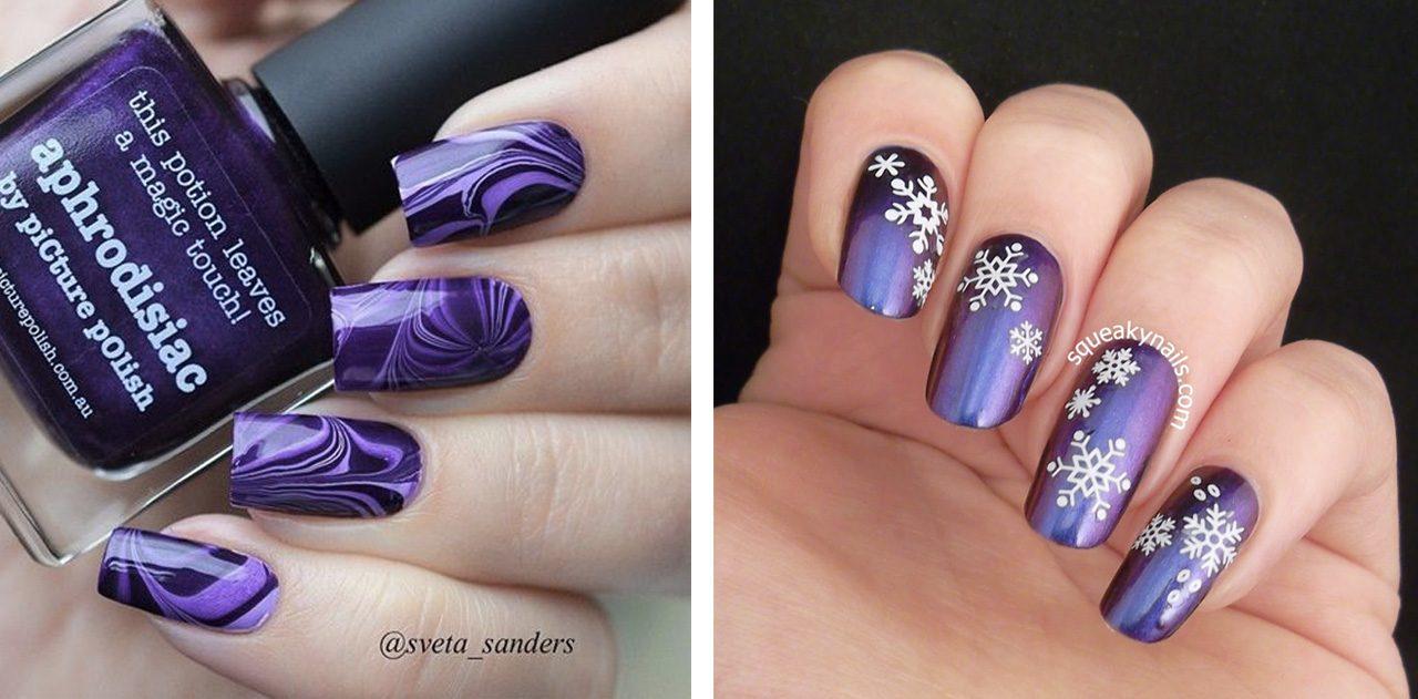 Новогодний маникюр в фиолетовом цвете