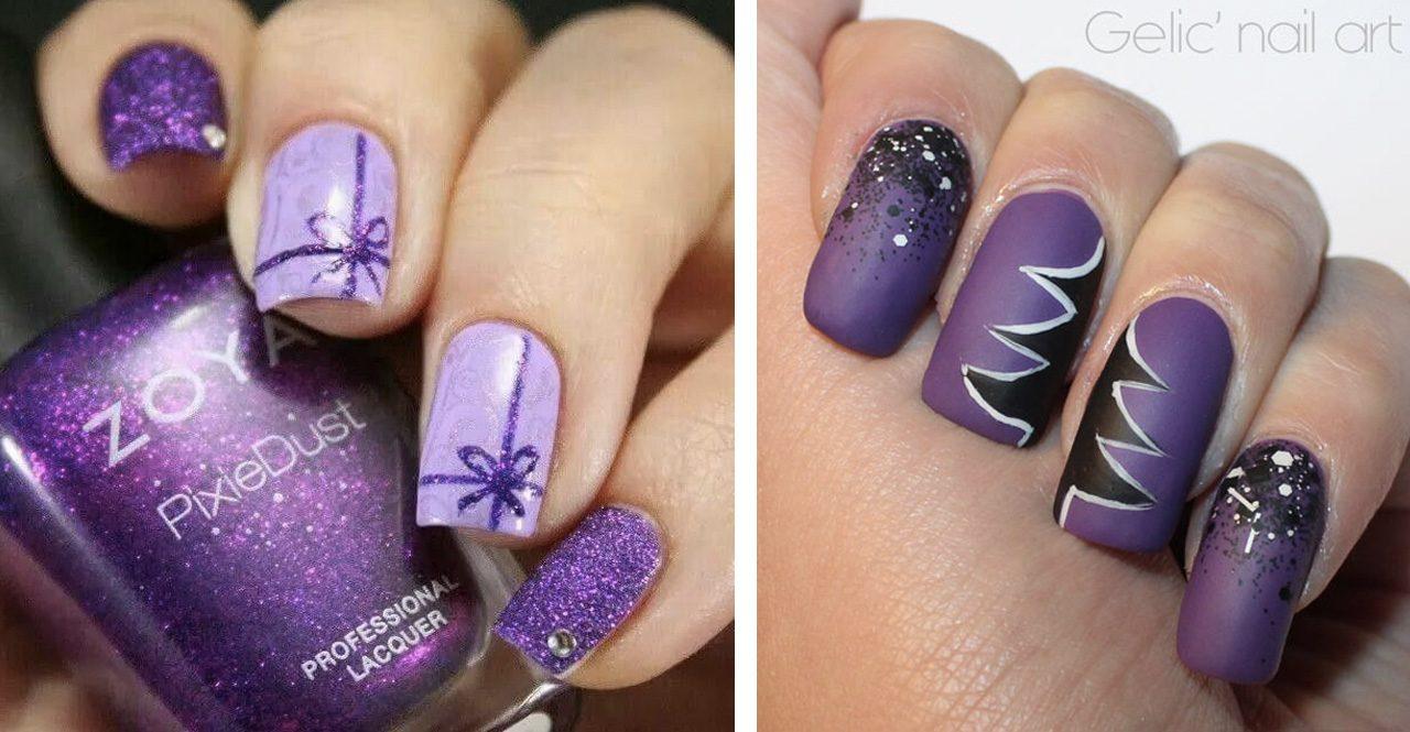 Фиолетовый маникюр на новый год