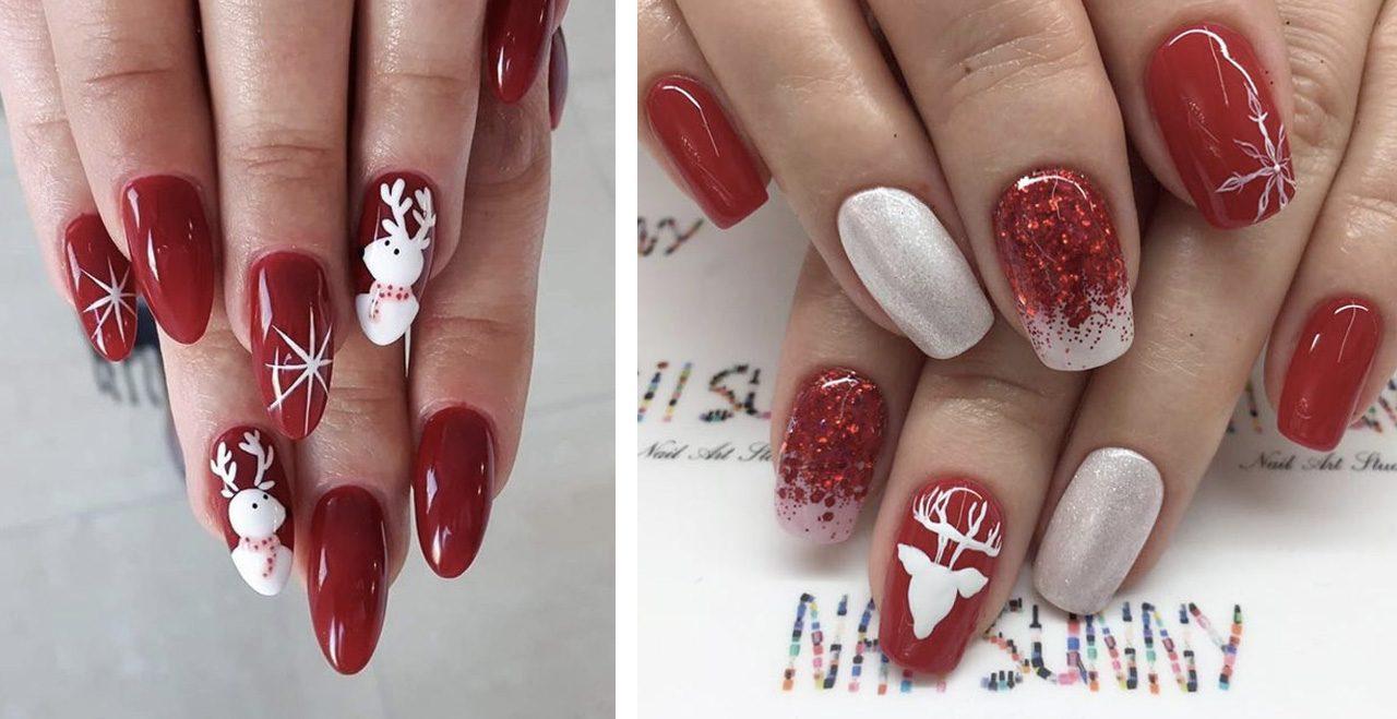 Новогодний красный маникюр с оленями