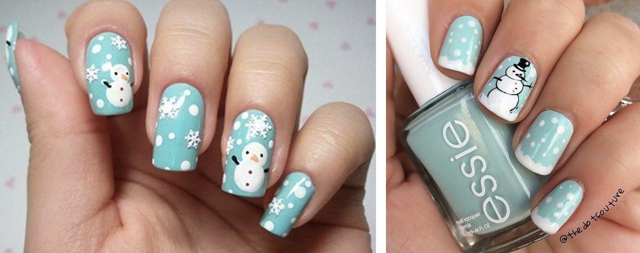 Новогодний маникюр - снеговик