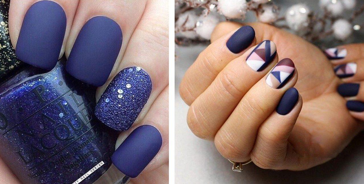 синий матовый новогодний маникюр