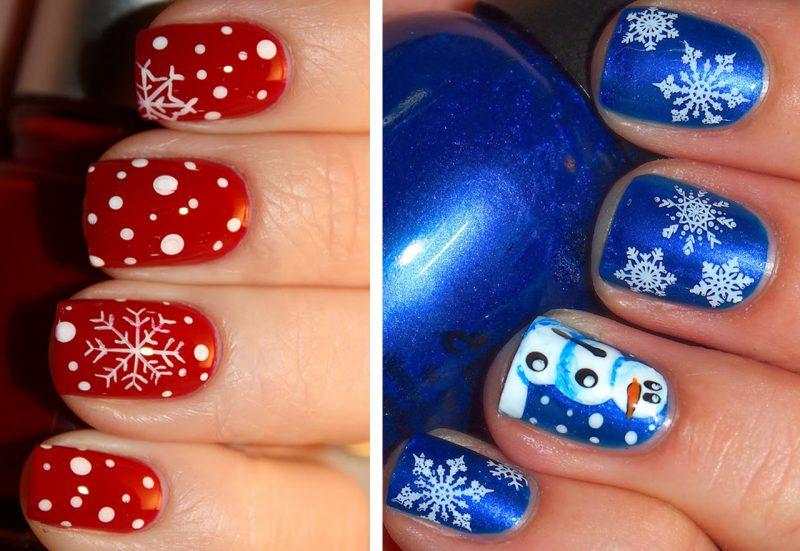 идеи маникюра на короткие ногти новый год