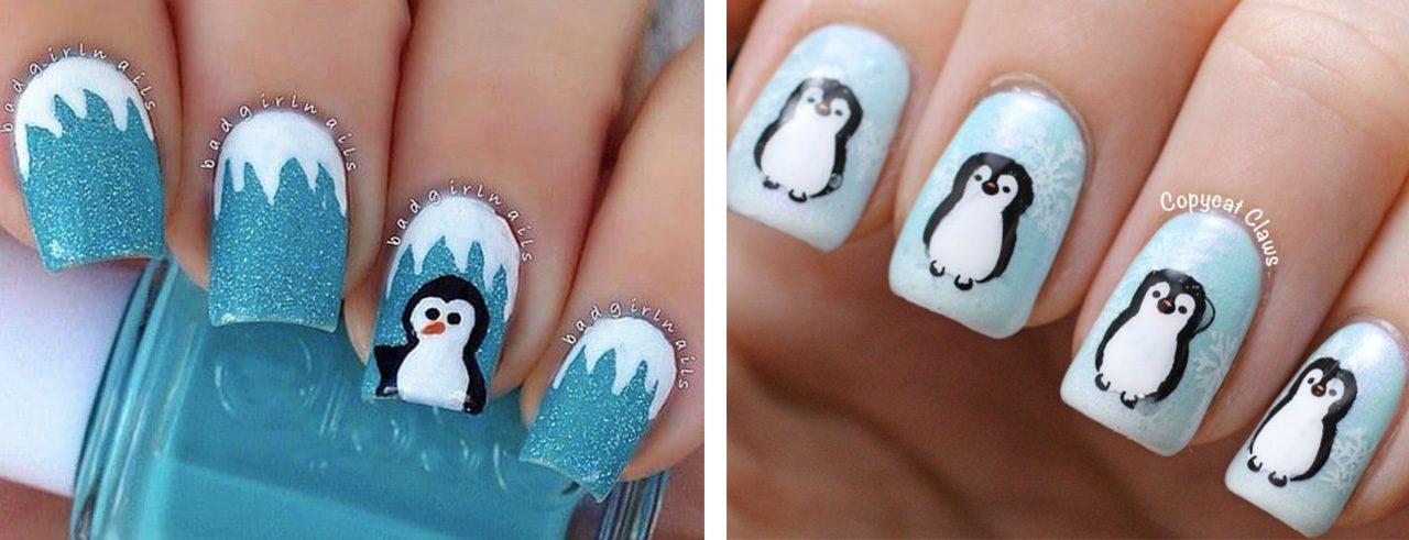 Новогодний маникюр с пингвином