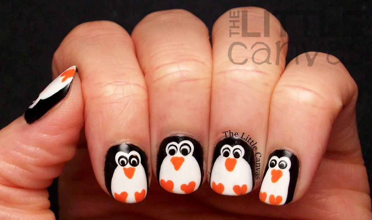 Дизайн маникюра - пингвины