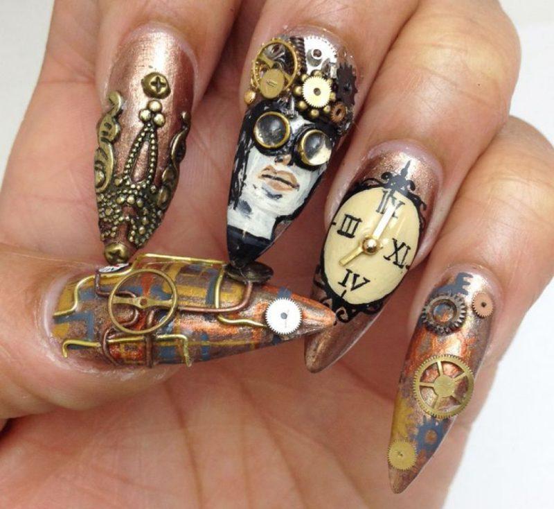 красивый новогодний маникюр на длинные ногти часы