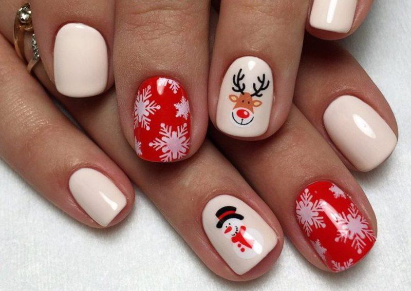 новогодний маникюр на короткие ногти гель лаком