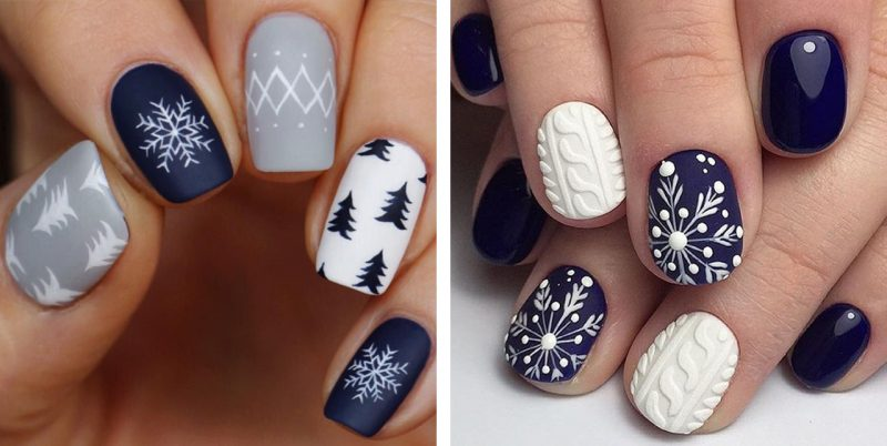 маникюр на короткие ногти новогодний дизайн фото