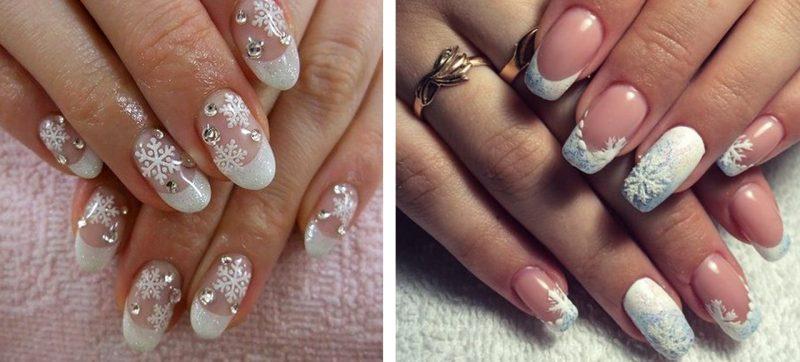 новогодний дизайн ногтей френч фото белый