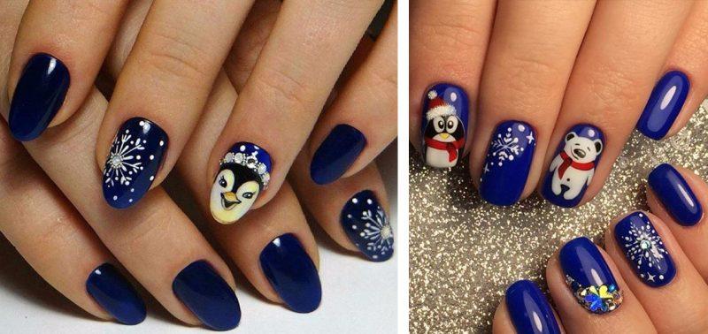 Новогодний маникюр с пингвином на синих ногтях