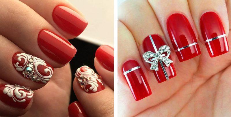Красный маникюр на новый год фото ногтей