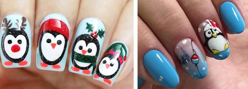 Идеи новогоднего маникюра с пингвинами фото на ногтях