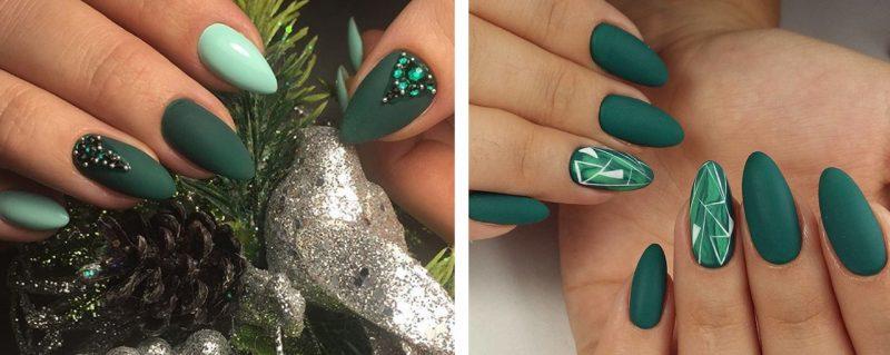 Зеленый новогодний маникюр на длинные острые ногти
