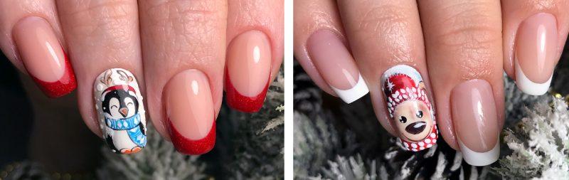 френч на ногтях зимний вариант