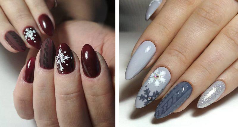 красивый зимний маникюр вязаный узор на ногтях