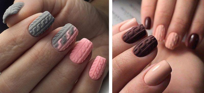 зимний маникюр вязаный узор на ногтях
