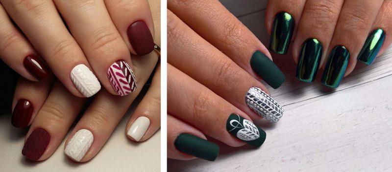 красивый зимний маникюр вязаный узор на коротких ногтях