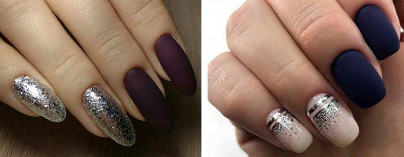 зимний маникюр на короткие ногти матовый дизайн