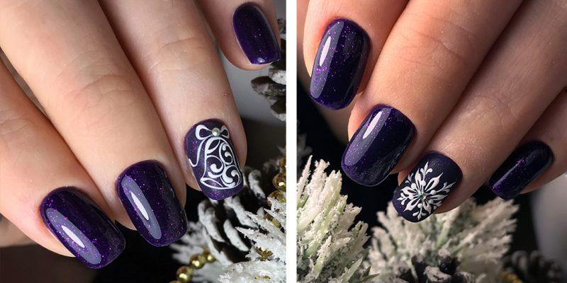 зимние легкие рисунки на ногтях