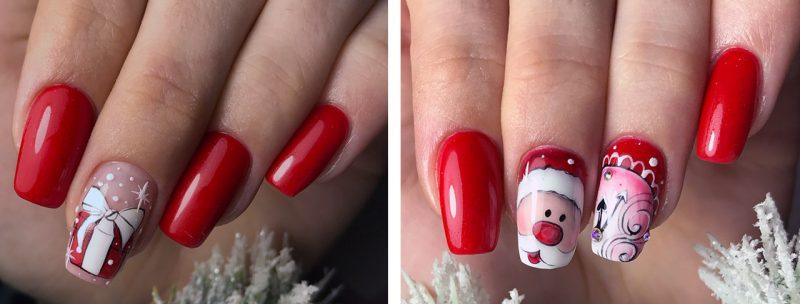 зимний рисунок на красных ногтях