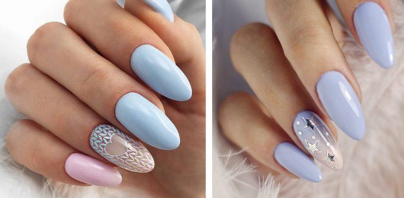зимний маникюр на длинные ногти дизайн