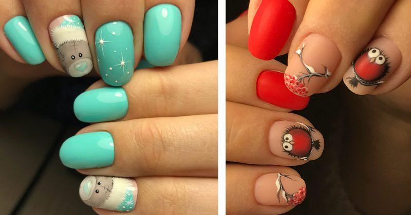 дизайн ногтей с зимним рисунком
