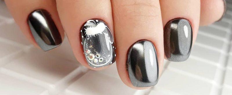 зимний маникюр на очень короткие ногти