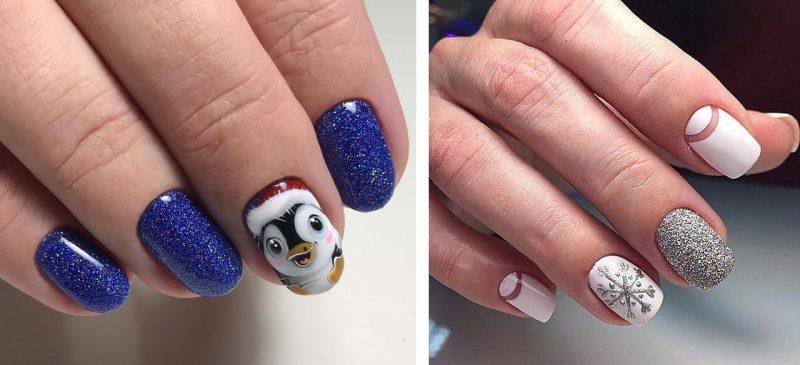 модный зимний маникюр на короткие ногти дизайн