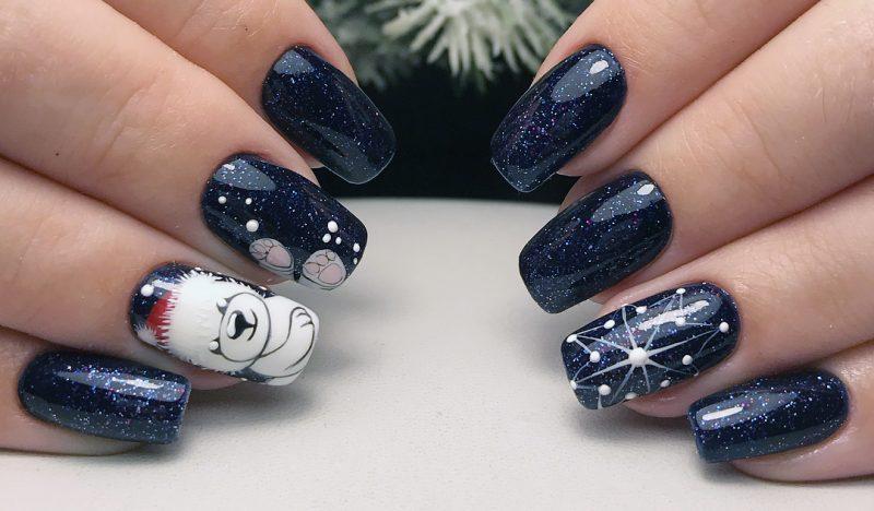 зимние рисунки на ногтях с мишкой