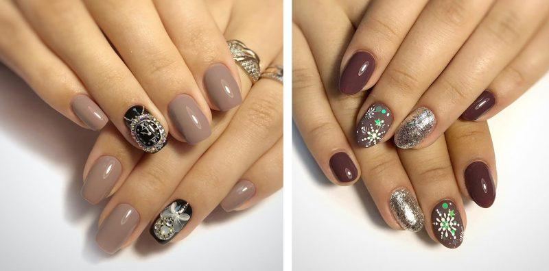 варианты зимнего маникюра на короткие ногти