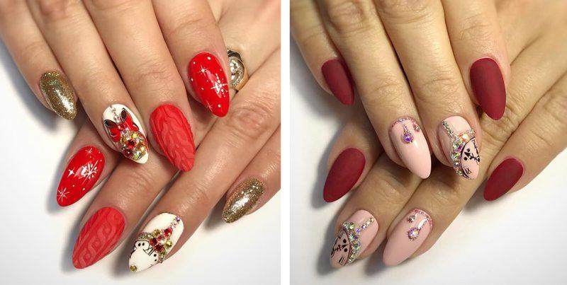 зимние рисунки на ногтях с часами фото