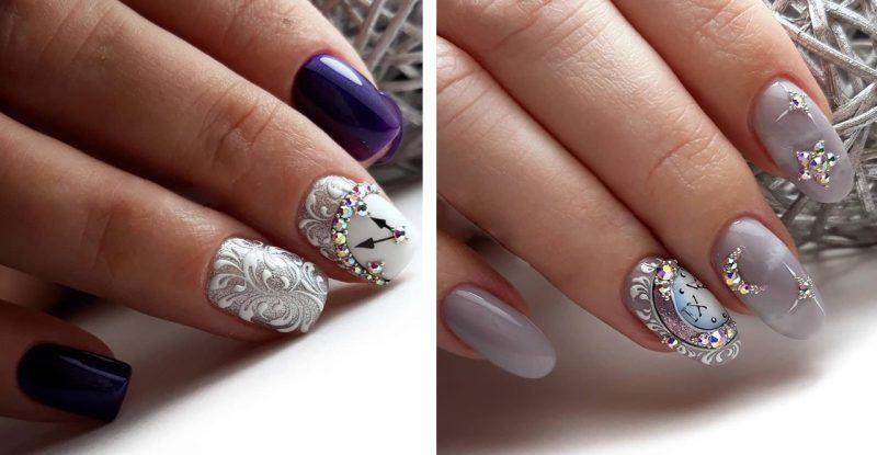 зимние рисунки на ногтях с часами