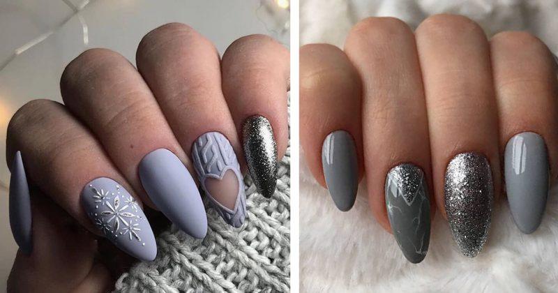 зимний маникюр на длинные острые ногти фото