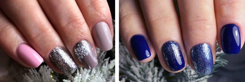 варианты зимнего маникюра на короткие ногти фото