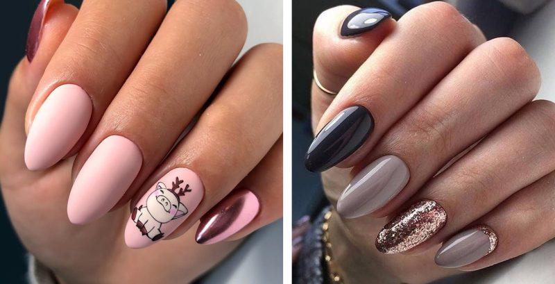 варианты красивого зимнего маникюра на длинные ногти фото