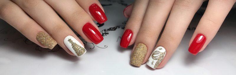 красный зимний маникюр на длинные ногти