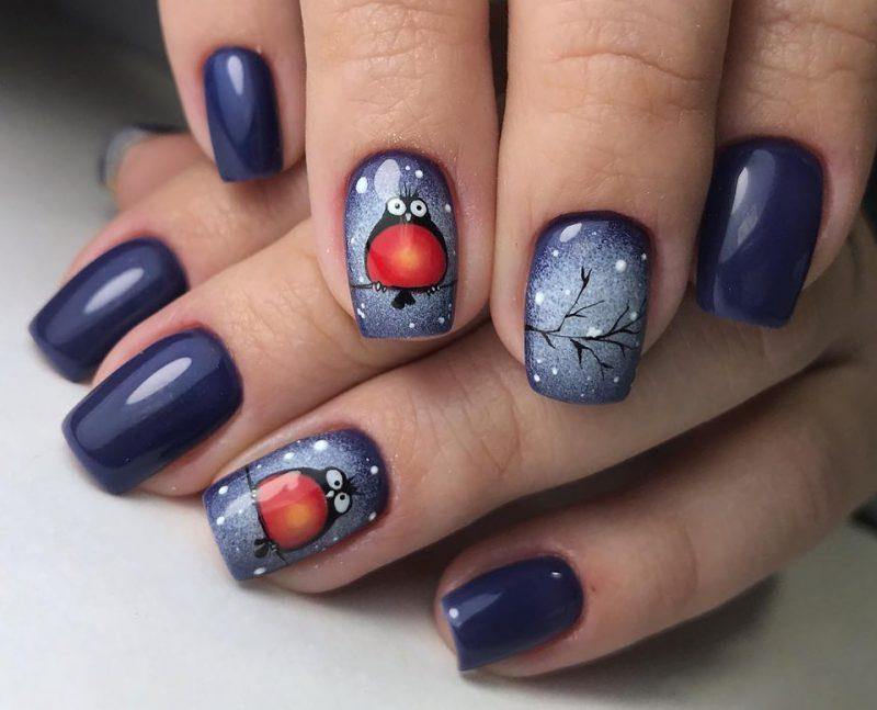 красивые зимние рисунки на синих ногтях