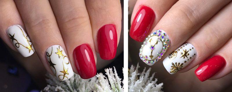 зимние рисунки на ногтях красные с золотом