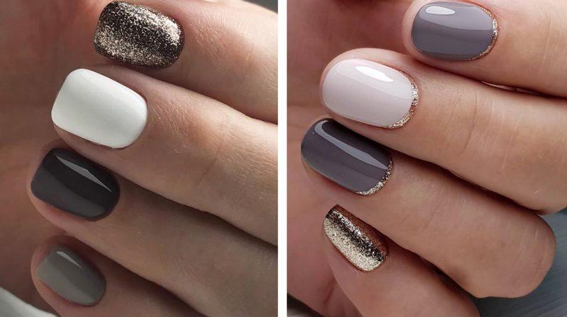 красивый зимний маникюр на короткие ногти