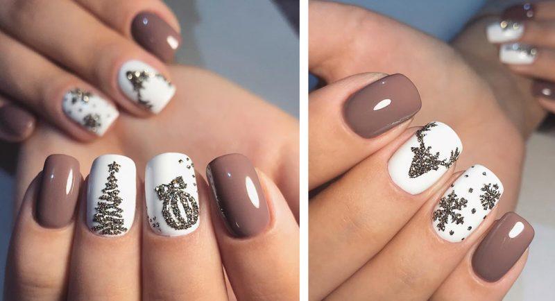 маникюр на короткие ногти зимний дизайн идеи