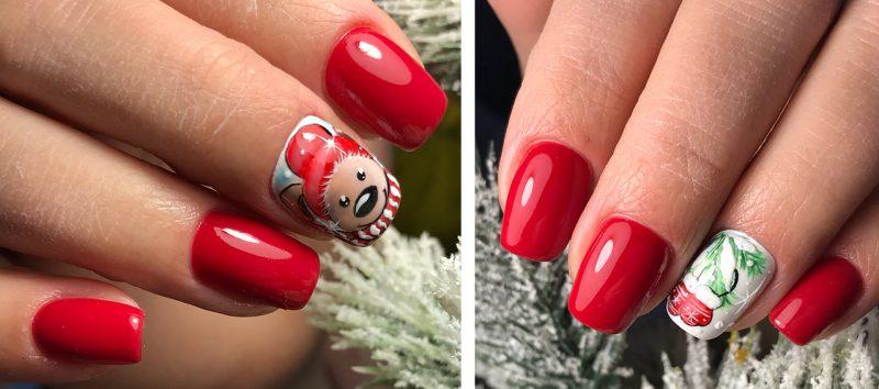 зимний красный маникюр на короткие ногти
