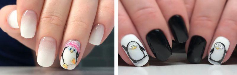 зимние рисунки на ногтях гель