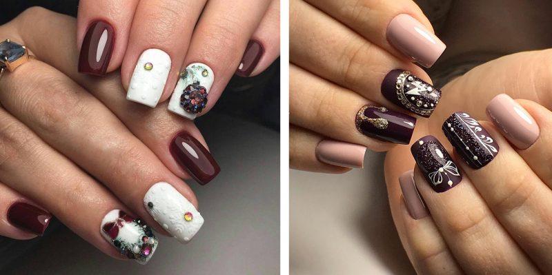 зимние рисунки на ногтях с шарами