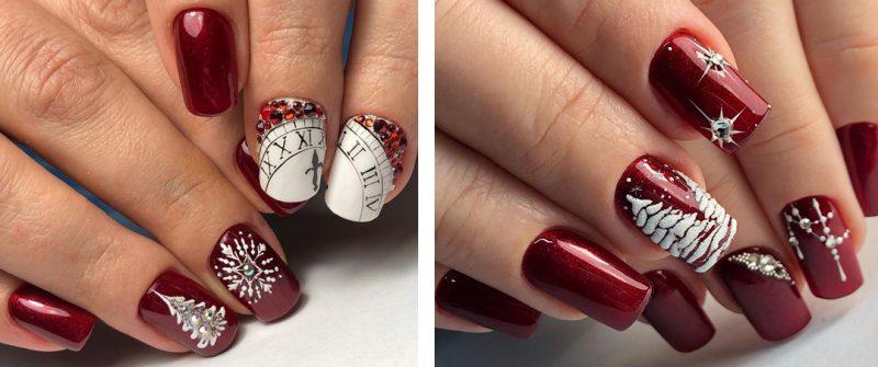 красивые зимние рисунки на красных ногтях