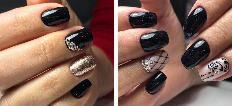 зимний маникюр на короткие ногти шеллак