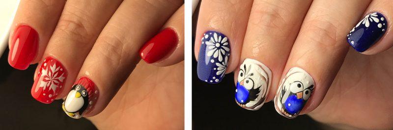 рисунок на ногтях зимний вариант
